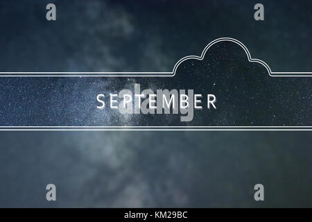 SEPTEMBER word cloud Concept. Space background. - Stock Photo