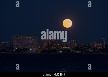 Alicante, Spain. 3rd Dec, 2017. The brightest moon of the year rises over San Juan beach in Alicante, Spain. Credit: - Stock Photo