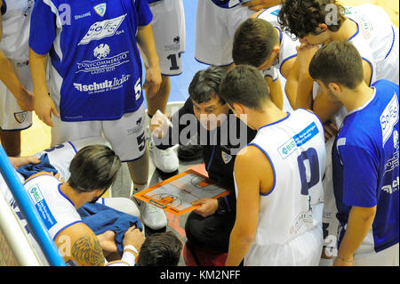 Minturno, Italy. December 3, 2017. A time out during basketball game Basket Scauri against Basket Stella Azzurra - Stock Photo