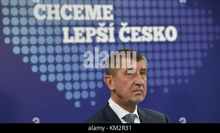Andrej Babis attends meeting of members of his nascent minority government in ANO headquarters, in Prague, Czech - Stock Photo
