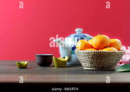 shot of accessories Chinese new year & decoration Lunar festival concept background.beautiful arrangement essential - Stock Photo