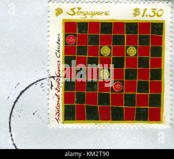 GOMEL, BELARUS, 3 DECEMBER 2017, Stamp printed in Singapore shows image of the Checkers, circa 2016. - Stock Photo