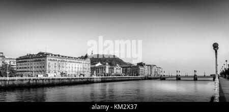 black and white view over the urumea river in donostia - Stock Photo