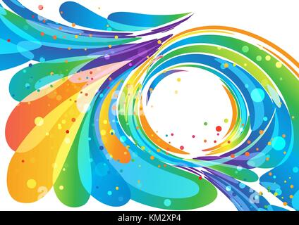 Abstract multicolored circle frame element on white - Stock Photo
