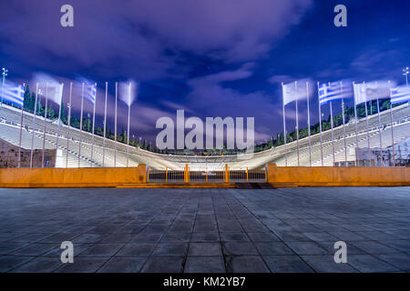 Panathenaic stadium in Athens at night, Greece (hosted the first modern Olympic Games in 1896), also known as Kalimarmaro. - Stock Photo
