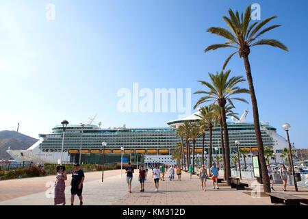 Royal Caribbean Navigator of the Seas cruise ship berthed at Cartagena city in Spain - Stock Photo