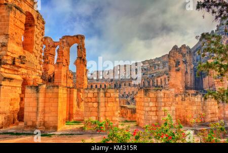 Amphitheatre of El Jem, a UNESCO world heritage site in Tunisia - Stock Photo