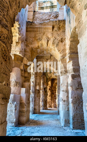 Amphitheatre of El Jem, a UNESCO world heritage site in Tunisia - Stock Photo