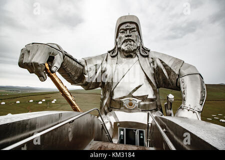 Giant Genghis Khan Equestrian Statue in Ulaanbaatar, Mongolia - Stock Photo