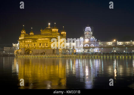 Night view of Golden Temple in Amritsar, Punjab - Stock Photo
