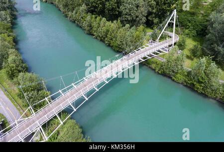 Steel construction - Pedestrian bridge in Valtellina - Stock Photo