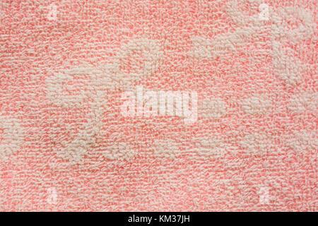 Light pink color bath cotton towel texture - Stock Photo