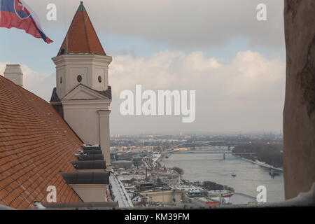 Bratislava. River Danube from Castle Turret - Stock Photo