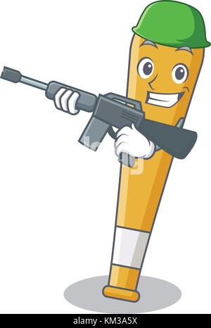 Army baseball bat character cartoon - Stock Photo