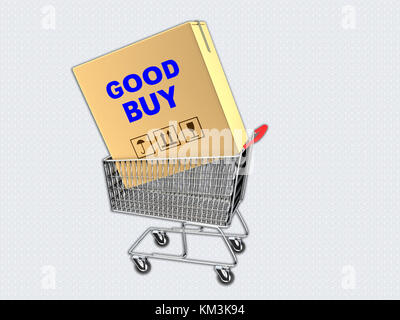 3D illustration, isolated on white, of 'GOOD BUY' script on a carton box placed in a supermarket cart. - Stock Photo