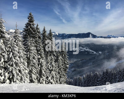 Snow covered firs next to a ski run with a view to Lake Zell in the Austrian alps - Stock Photo