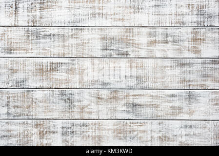 Old white wooden table. Vintage wooden planks. Horizontal and copy space for text - Stock Photo