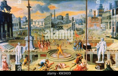 Antoine Caron (1521-1599). French painter. Massacre of the Triumviarate, 1566. Louvre Museum. Paris. France. - Stock Photo