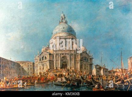 Francesco Lazzaro Guardi (1712-1793). Italian painter. Venetian School. The Doge at the Basilcia of La Salute. The - Stock Photo