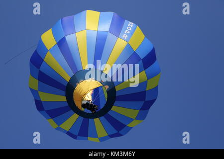 Single-seater hot air balloon over Henley-on-Thames, Oxfordshire, UK - Stock Photo