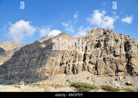 Road to Jais Mountains, Jebel Jais, Ras Al Khaimah, United Arab Emirates - Stock Photo
