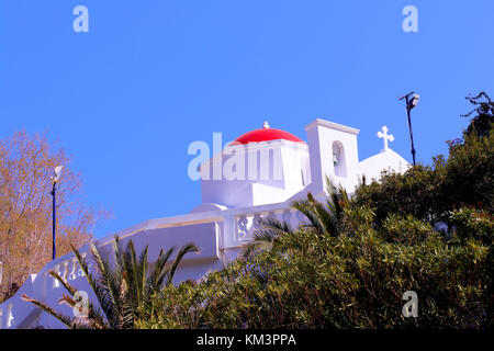 beautiful orthodox church with red dome in Kyra Panagia Beach - Stock Photo