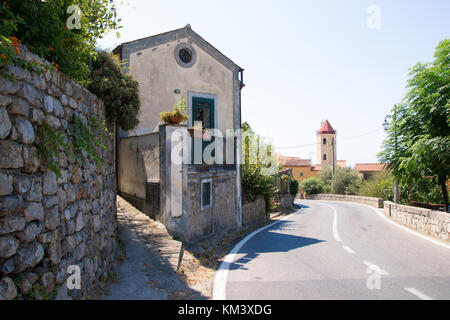 Perspective street view of Acquafredda di Maratea, a little village in Basilicata, Italy. - Stock Photo