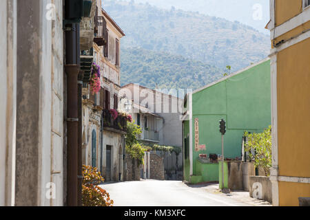 Acquafredda di Maratea, ITALY - AUGUST 26, 2017: View of a street of Acquafredda, a little town of Basilicata. - Stock Photo