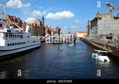Old port on the Motawa River in Gdansk (Poland) - Stock Photo