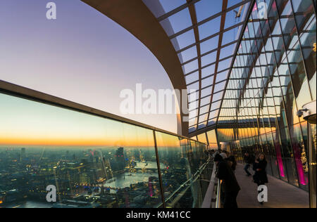 England London England city of London skyline dusk The Walkie talkie building skyscraper or 20 Fenchurch Street - Stock Photo