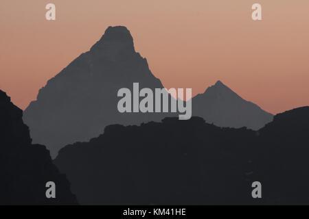 Sunrise on Matterhorn (4478 m) Italian Alps. - Stock Photo