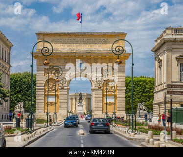 France, Hérault department, Montpellier, Porte du Peyrou, view of the triumphal arch from Rue Foch - Stock Photo