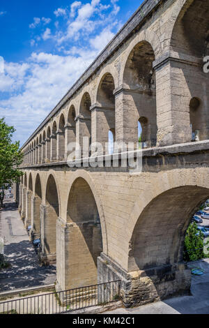 France, Hérault department, Montpellier, view of Saint Clément Aqueduct, the 18th century aqueduct was used to bring - Stock Photo
