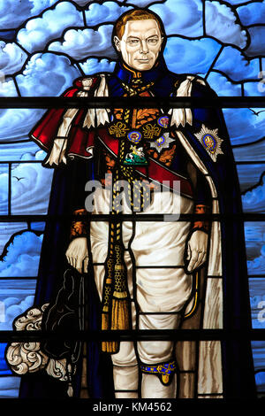 Detail of a stained glass window portraying King George VI (1895-1952) at the King's Chapel, Gibraltar - Stock Photo