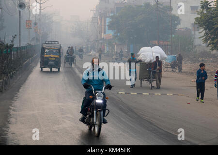 Early morning ambient street scene in Amritsar, India - Stock Photo