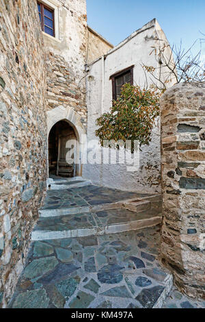 An alley in the castle (kastro) of Chora in Naxos island, Greece - Stock Photo