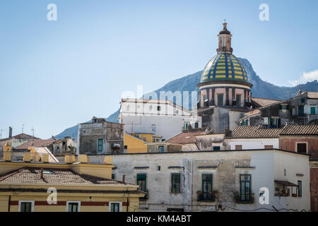 Vietri sul Mare, Amalfi coast (Italy): Dome and bell tower church St. John (San Giovanni Battista), traditional - Stock Photo