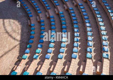 Vietri sul mare in Amalfi coast, public theatre arena, seats constructed entirely of ceramic, italy - Stock Photo