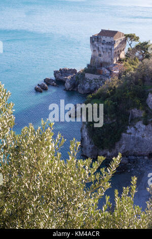 Crestarella tower with blue sea in the background, saracen architecture of Vietri sul Mare ( near Amalfi coast), - Stock Photo