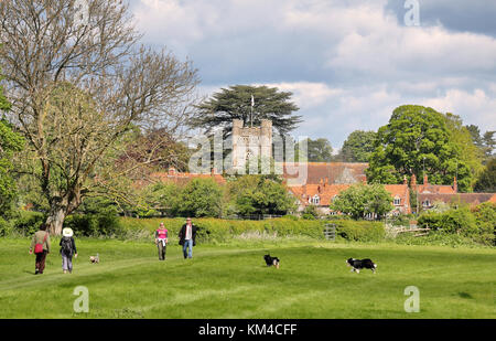 An English Landscape in the Chiltern Hills with the Village of Hambleden - Stock Photo