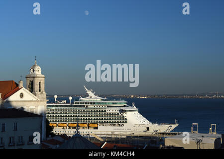 cruise ship on the river tagus;alfama;lisbon;portugal - Stock Photo