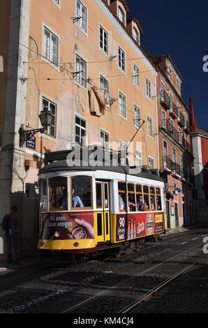 tram 28;camoes;largo de santa luzia;lisbon;portugal; - Stock Photo
