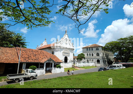 Galle, Sri Lanka - Sep 9, 2015. Scenic view of streets at old colonial Fort Galle in Sri Lanka. Galle is a city - Stock Photo