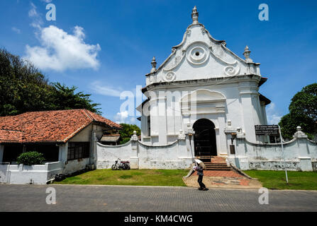 Galle, Sri Lanka - Sep 9, 2015. Dutch Church at old town of Galle, Sri Lanka. Galle had been a prominent seaport - Stock Photo