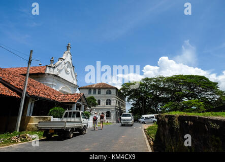 Galle, Sri Lanka - Sep 9, 2015. People visit the old town of Galle, Sri Lanka. Galle had been a prominent seaport - Stock Photo