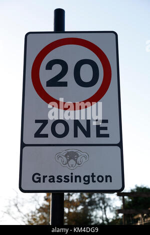20 MPH speed Zone Sign in use in the Market Town of Grassington in the Craven district of North Yorkshire, UK