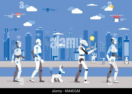 Android robots and a dog robot Walking in a Futuristic City.  Futuristic image of a near future. Android robots - Stock Photo