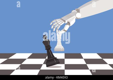 Robot playing chess and checkmate. Artificial intelligence surpasses the human brain. - Stock Photo