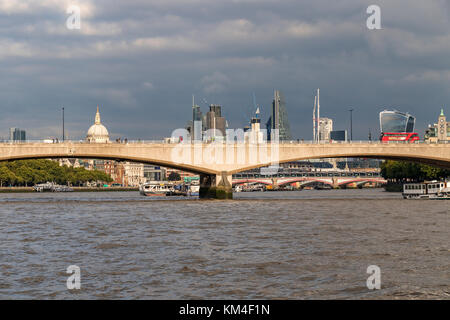 Waterloo Bridge from The River Thames with Blackfriars Bridge, The Dome Of St Paul's Cathedral and the City Of London - Stock Photo