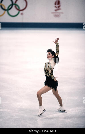 Kristi Yamaguchi (USA) competing at the 1992 Olympic Winter Games. - Stock Photo